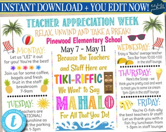 a286f5acd3ec EDITABLE Beach Themed Teacher Appreciation Week Itinerary Poster Hawaiian  Theme Appreciation Week Schedule Events INSTANT DOWNLOAD Printable