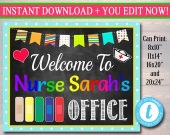 School Nurse Sign Etsy