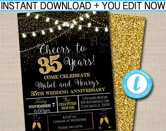 EDITABLE 35th Party Invitation Birthday Printable Cheers To Thirty Five Years Digital Wedding Anniversary Invite Black Gold