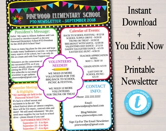 editable newsletter template instant download teacher etsy