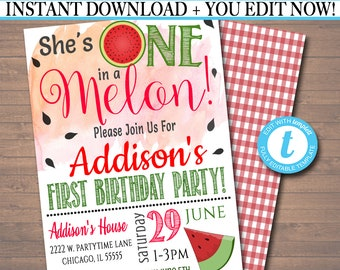 EDITABLE One In A Melon Party Birthday Invitation Girls First 1 Year Old Digital Invite Summer Theme INSTANT DOWNLOAD