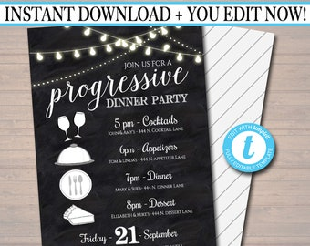 Editable Progressive Dinner Party Invitation, Neighborhood Potluck Party Invite, Chalkboard Printable, House Round Robin, INSTANT DOWNLOAD