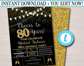 EDITABLE 80th Party Invitation Birthday Printable Cheers To Eighty Years Digital Company Office Anniversary Invite Black Gold