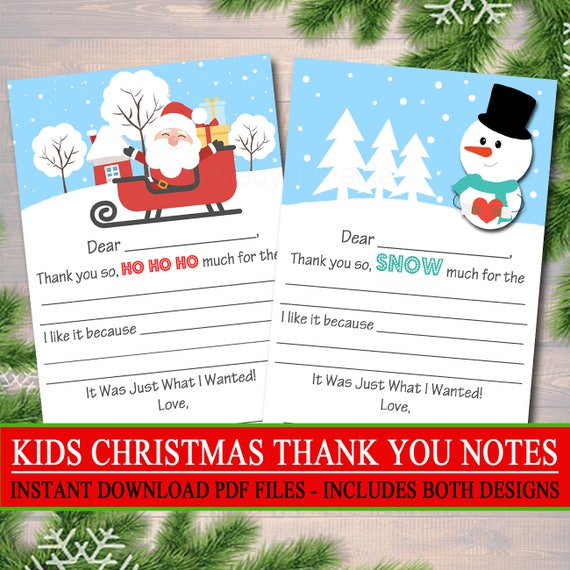 Kid S Christmas Thank You Cards Instant Download Etsy