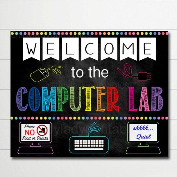 Computer Lab School Sign Classroom Decor Teacher Door