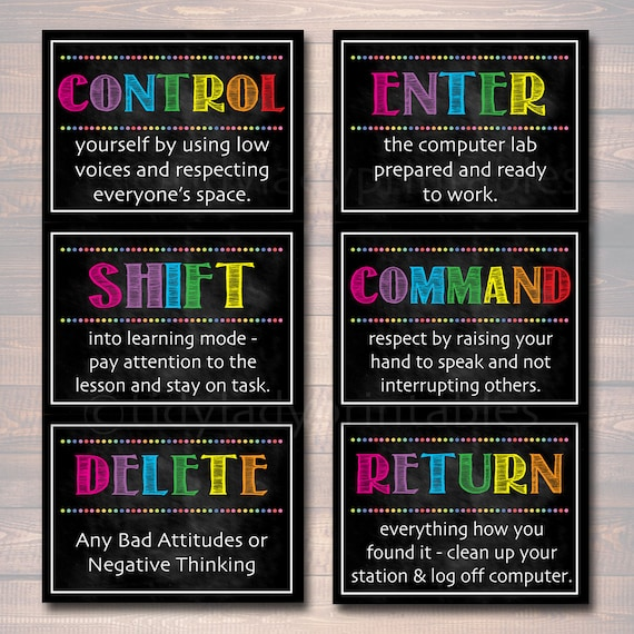 Computer Lab Poster Set Classroom Decor Instant Download