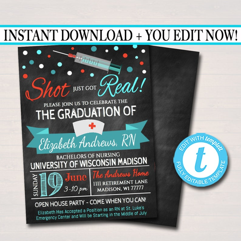 image relating to Nurse Graduation Invitations Printable identified as Editable Nurse Commencement Invitation Chalkboard Printable Electronic Higher education Grad Invite Commencement Bash, RN Announcement, Fast Down load