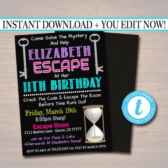 EDITABLE Escape Room Birthday Invitation Girl Mystery Clue