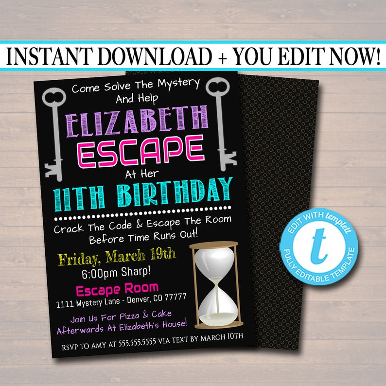 EDITABLE Escape Room Birthday Invitation Girl Mystery Clue