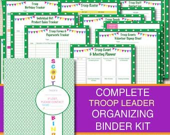 Organizing Binder Kit, INSTANT DOWNLOAD Troop Leader Forms, Meeting Planner, Printables, Camp Planner, Group Organizer, Fundraiser Forms