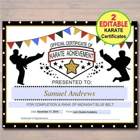 Editable Karate Certificates Instant Download Karate Belt Etsy