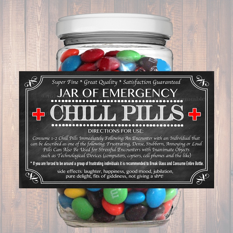 image about Printable Chill Pill Label named Chill Products Label, Chalkboard Label Gag Reward Educated Office environment Present, Xmas Present, Birthday Reward, Manager Present, Cowork Reward Printable Label