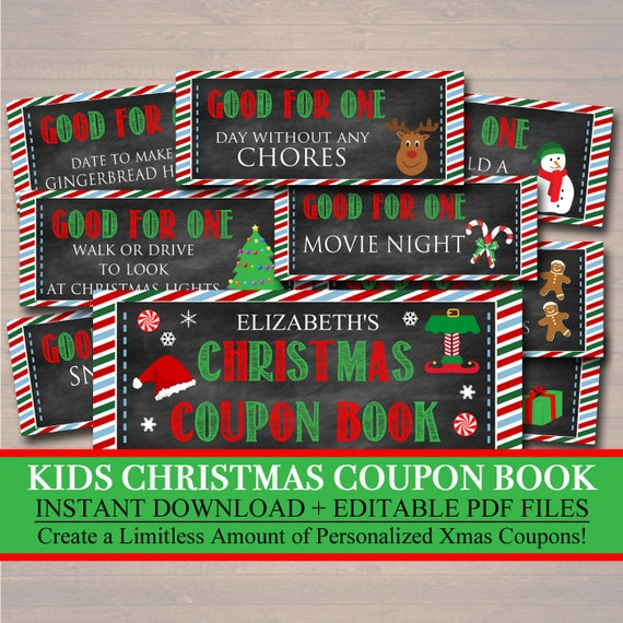 editable kid s christmas coupon book instant download etsy