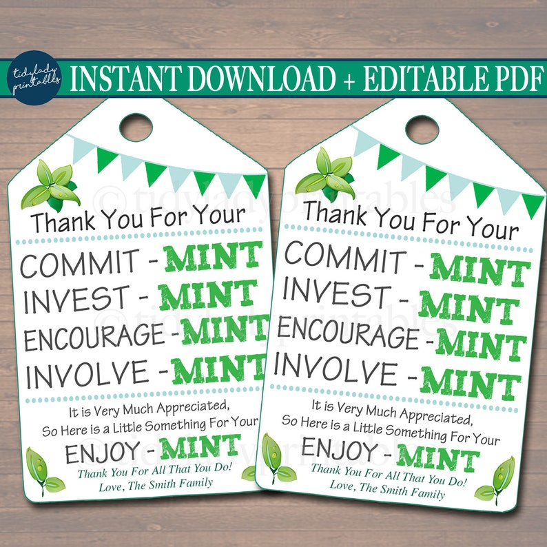 image relating to Thank You for Your Commit Mint Printable called Printable Thank By yourself Tags, Volunteer Mint Labels, Printable, Immediate + EDITABLE, Thank Your self Reward, PTA Employees Reward Appreciation Mint Desire Label
