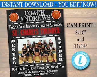 Basketball Coach Gift, Coach Award, Basketball Team Gift, End of Season Basketball Banquet, Custom Best Coach Gift, Team Basketball  Photo