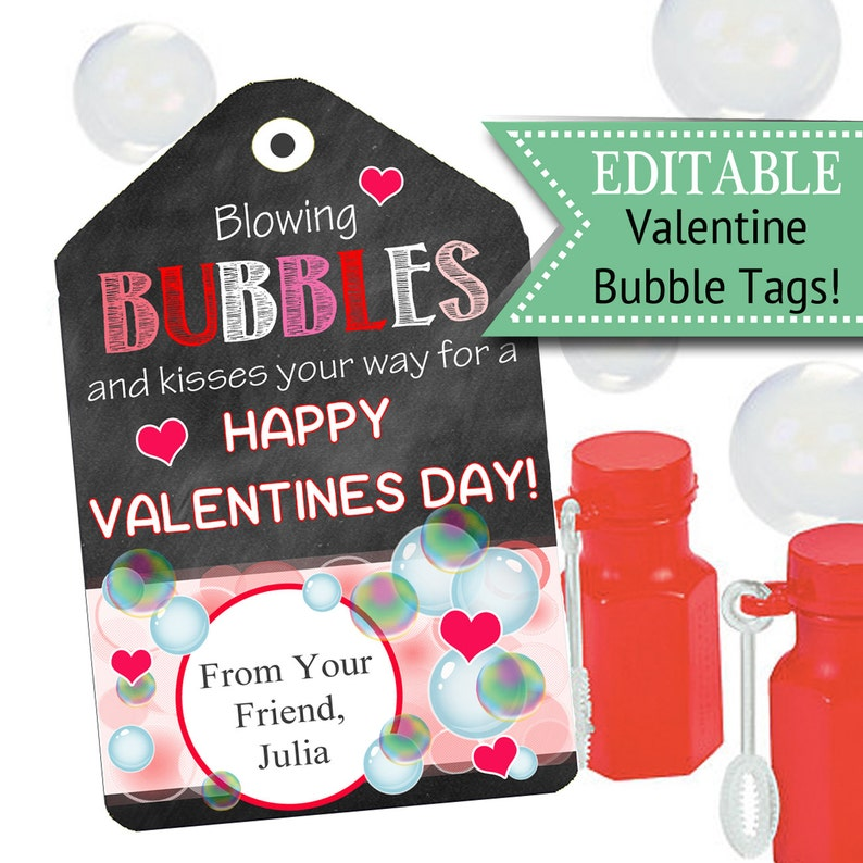 photograph relating to You Blew Me Away This Year Free Printable referred to as EDITABLE Valentines Working day Tags, Fast Obtain, Printable Small children Non-Sweet Bubbles Valentine, Clroom Valentines, Your self Create My Centre Pop