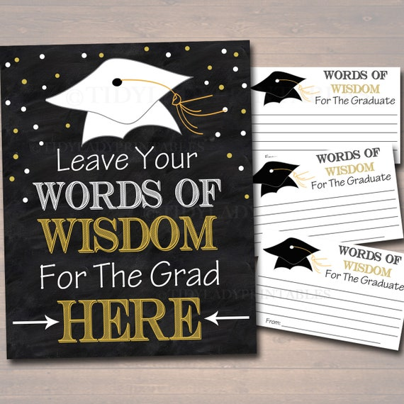 Graduation Party Sign Chalkboard Printable Words Of Wisdom Etsy