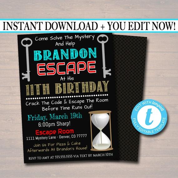 Editable Escape Room Birthday Invitation Boy Mystery Clue