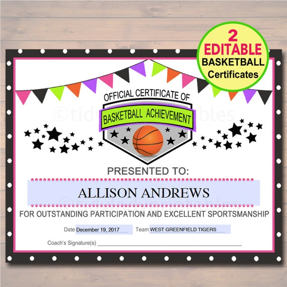 EDITABLE Basketball Certificates INSTANT DOWNLOAD Basketball | Etsy