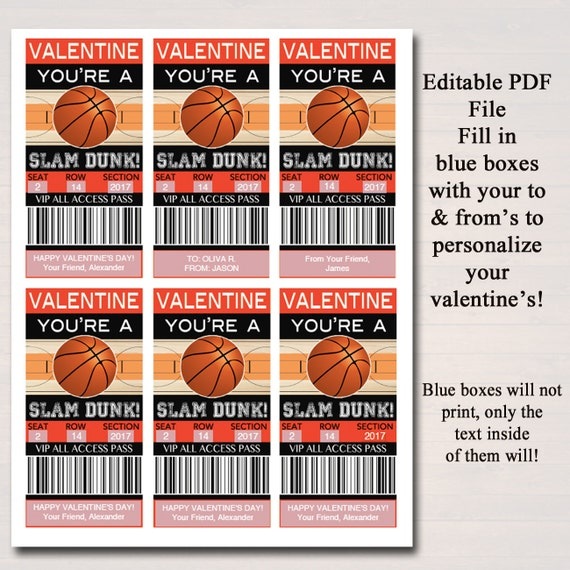 Editable Basketball Ticket Valentines Day Cards Instant Etsy