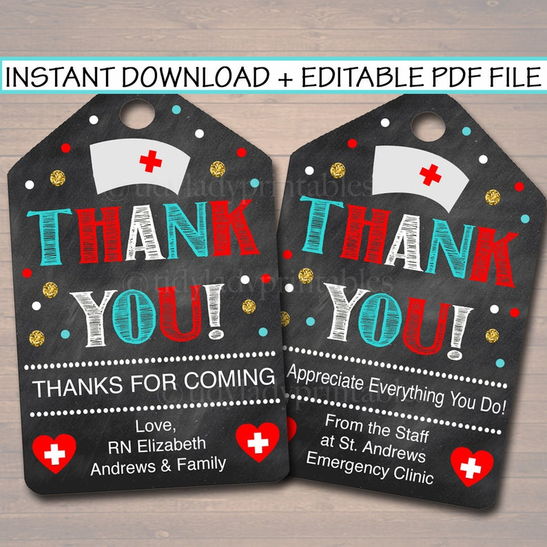 photograph regarding Printable Nurses Week Games known as Printable Nurse Thank Oneself Tags, Nurse Appreciation 7 days Reward Fast + EDITABLE, RN Nurse Commencement Retirement Choose Label Tag Electronic Record