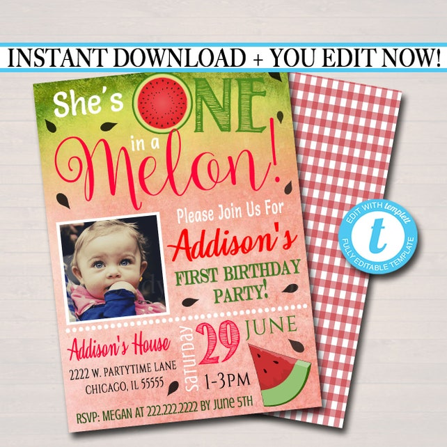 EDITABLE One In A Melon Party Birthday Invitation Girls First 1 Year Old Digital
