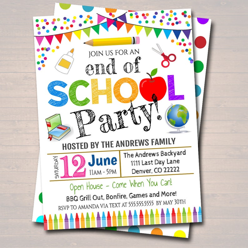 Teacher Classroom Party Bash Printable Digital Invite Backyard bbq Party Back to School Party EDITABLE End of School Party Invitation