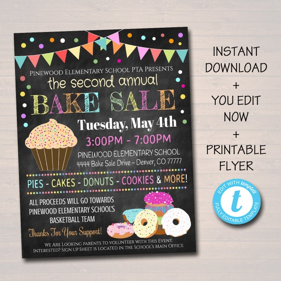 EDITABLE Bake Sale Flyer Printable PTA PTO Flyer School Etsy