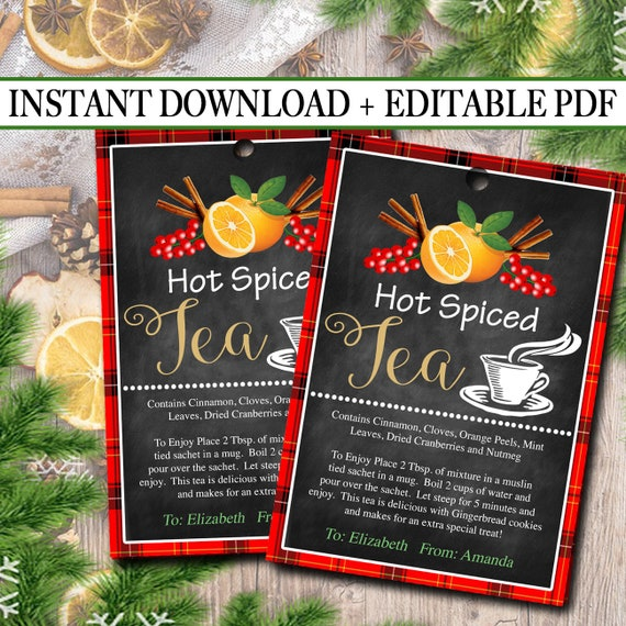Editable Hot Spiced Tea Christmas Gift Tags Secret Santa