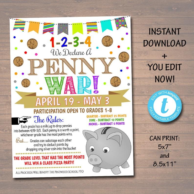 editable penny war fundraiser flyer printable handout. Black Bedroom Furniture Sets. Home Design Ideas