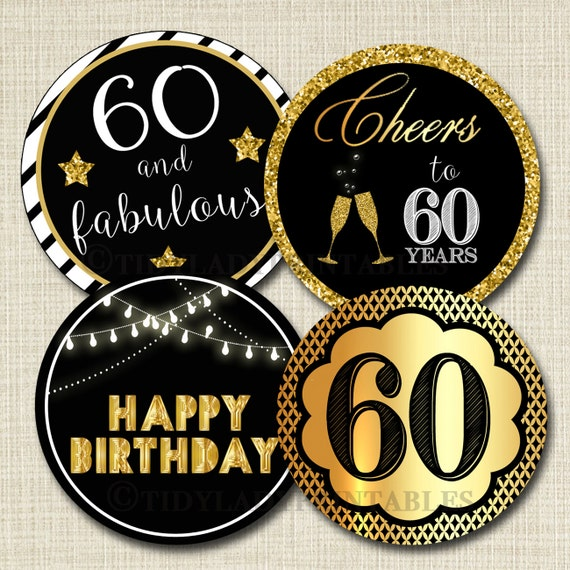 60th Birthday Cupcake Toppers PRINTABLE Cheers To Sixy Years Decoration Cake Decor Party INSTANT DOWNLOAD