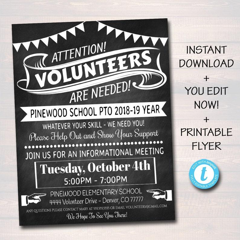 EDITABLE Volunteer Recruitment Flyer Printable Handout image 0