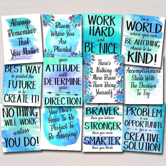 Inspirational Watercolor Printable Poster Classroom Green Office Decor School Counselor Teacher Social Work Problem Has Creative Solution