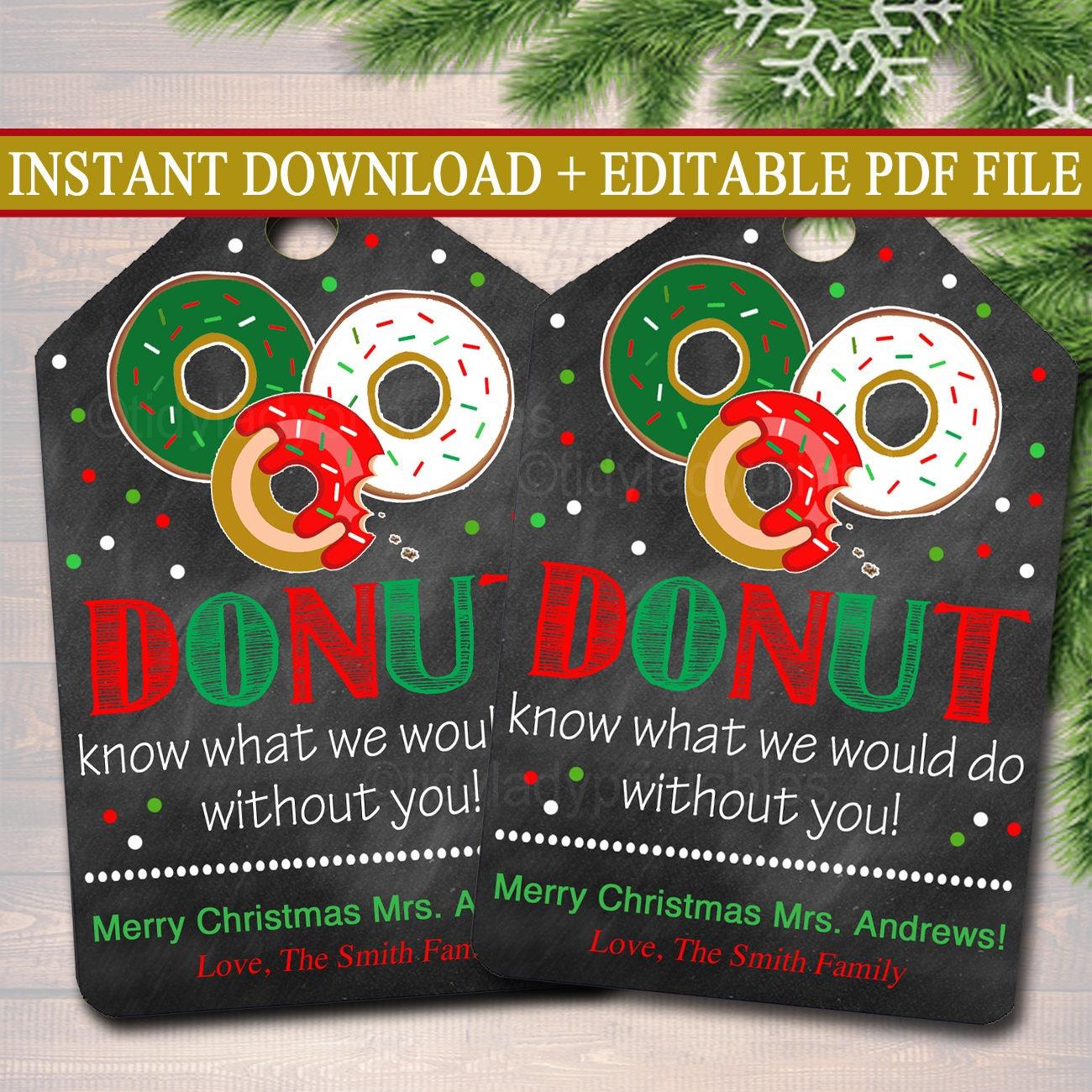 EDITABLE Donut Gift Tags Christmas Teacher Volunteer Nanny | Etsy