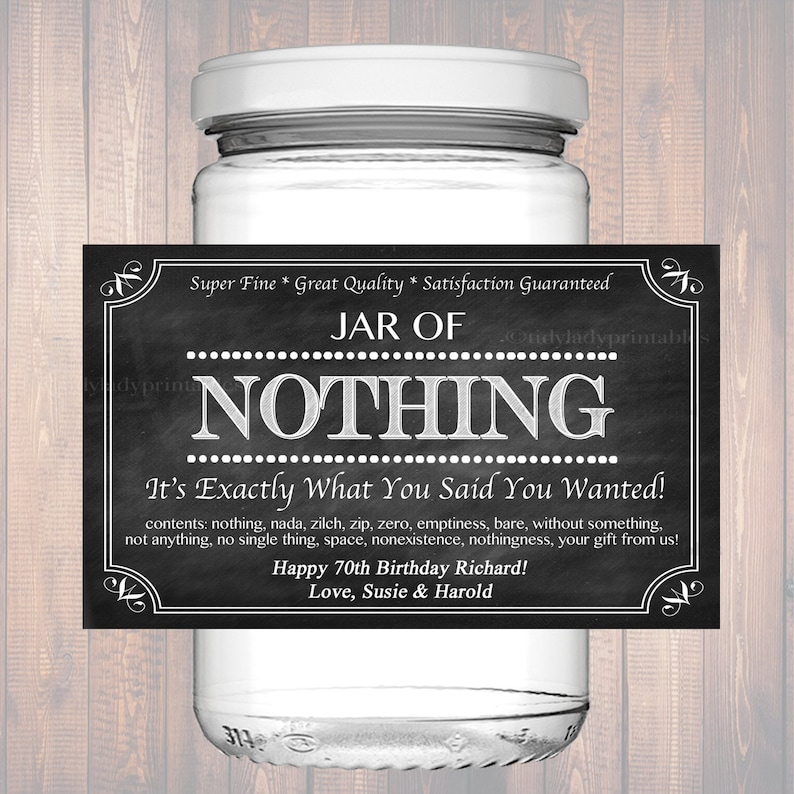 Editable Jar Of Nothing Label Chalkboard Label