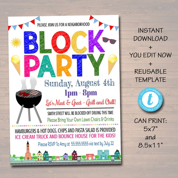 EDITABLE Neighborhood Block Party Invite Printable Invitation Bbq