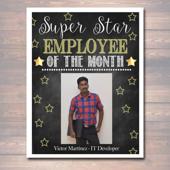 editable employee of the month printable office printable etsy