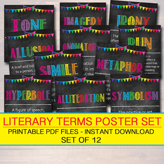 Literary Terms English Grammar Punctuation Posters Instant Etsy