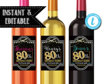 EDITABLE 80th Birthday Custom Wine Labels, Cheers to 80 Years, 80th Birthday Gift, 80th Party, Vintage Aged to Perfection 80th Printable