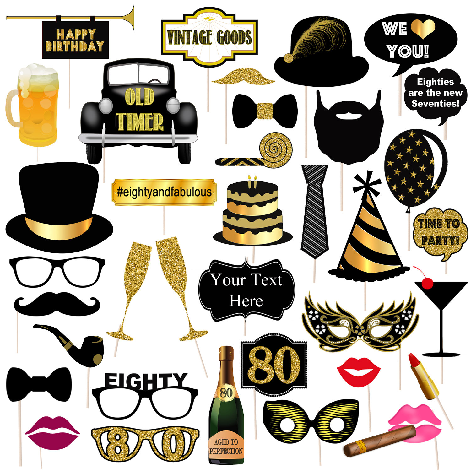 Editable 80th Birthday Party Props Printable Photo Booth Etsy