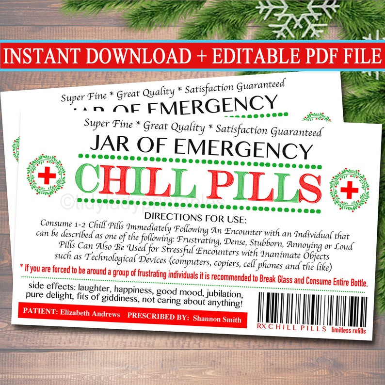 image about Chill Pill Printable Label titled EDITABLE Chill Drugs Label, Amusing Gag Present Knowledgeable Place of work Present, Xmas Present, Mystery Santa, Manager Present, Coworker Present Printable Label