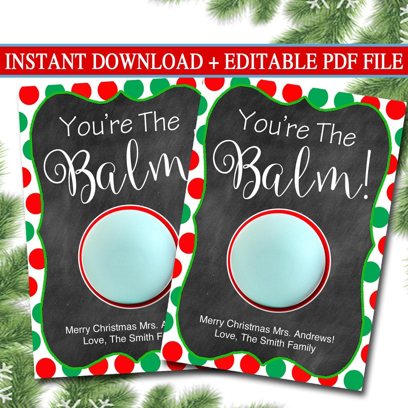 EDITABLE Lip Balm Tags Christmas Teacher Gift INSTANT | Etsy
