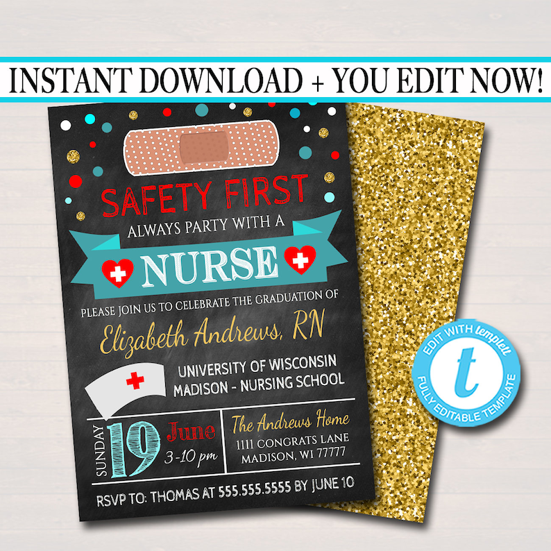 image relating to Nurse Graduation Invitations Printable known as Editable Nurse Commencement Invitation Chalkboard Printable Electronic School Grad Invite Commencement Bash, RN Announcement, Immediate Down load