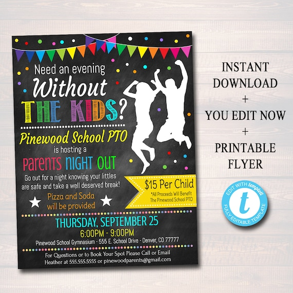 editable parents night out flyer printable pta pto school