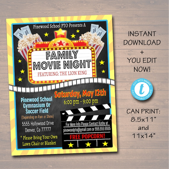 editable movie night flyer printable pta pto flyer school etsy