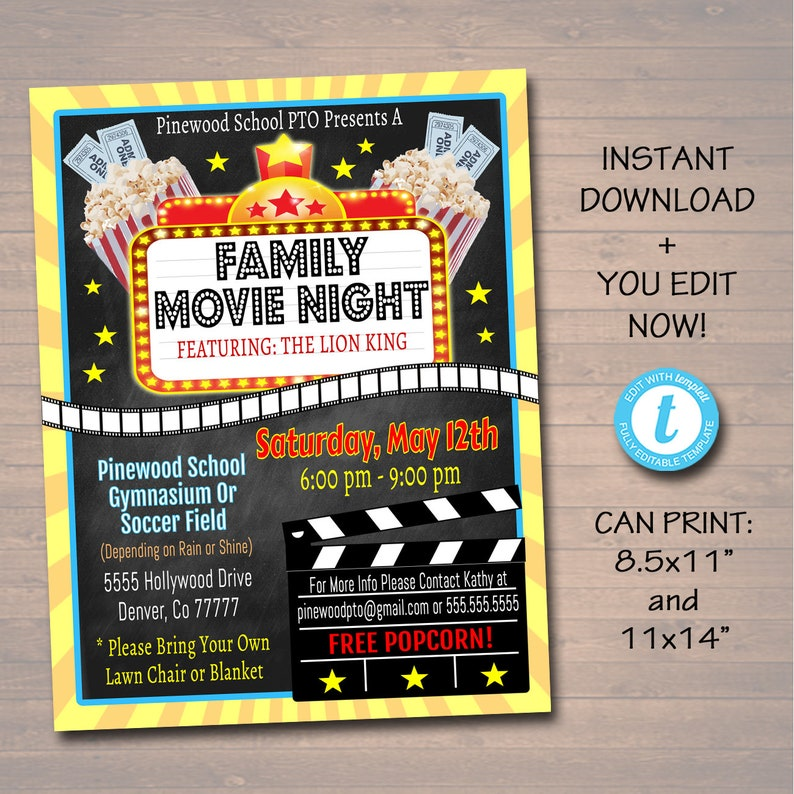 photo about Flyers Printable Schedule identified as EDITABLE Video clip Evening Flyer, Printable PTA PTO Flyer, College Church Ease Fundraiser Celebration Poster Electronic Cinema Bash Printable Invitation