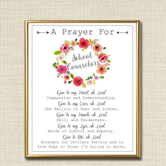 School Counselor Prayer Art School Counselor Gift Guidance | Etsy