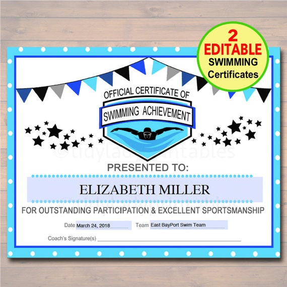 editable swim team award certificates instant download etsy