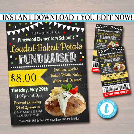 editable loaded baked potato fundraiser flyer ticket set