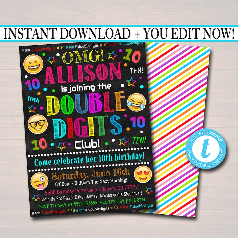 EDITABLE Double Digits Club Party Birthday Invitation 10th